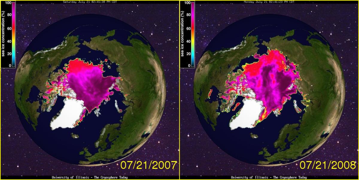 arctic sea ice 07 21 2007 2008