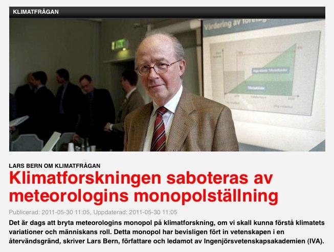 Klimatforskningen saboteras av meteorologins monopolställning Artikel av Lars Bern Newsmill