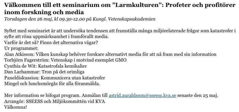 Seminarium den 26 maj Profeter och profitörer inom forskning och media maggie@crusell.se