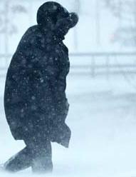 Man i snö